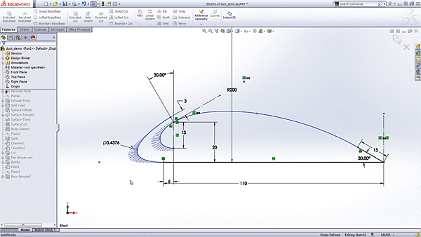 SolidWorks conic curves